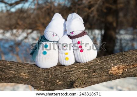 Happy Snowman Family - stock photo