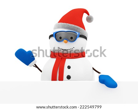Happy Snowman Greeting with Blank Board isolated on white background