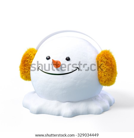 Happy snowman head in a earmuff on a snowdrift at white background. Unusual christmas illustration.
