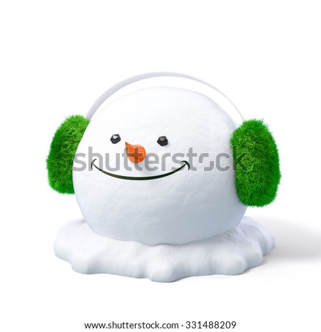 Happy snowman head in a earmuff on a snowdrift at white background. Unusual christmas illustration. - stock photo