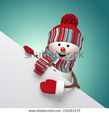 happy snowman holding blank banner, 3d illustration, winter holiday background - stock photo