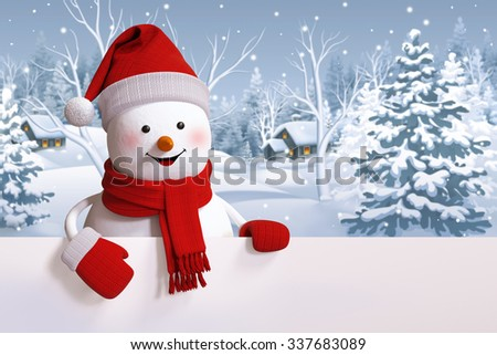 happy snowman holding blank banner, snowy forest, Christmas background, winter landscape - stock photo
