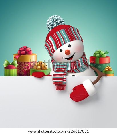 happy snowman holding blank banner, stack of gift boxes, 3d illustration, winter Christmas holiday background - stock photo