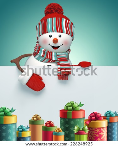 happy snowman holding blank banner, stack of gift boxes, 3d illustration, winter holiday background - stock photo