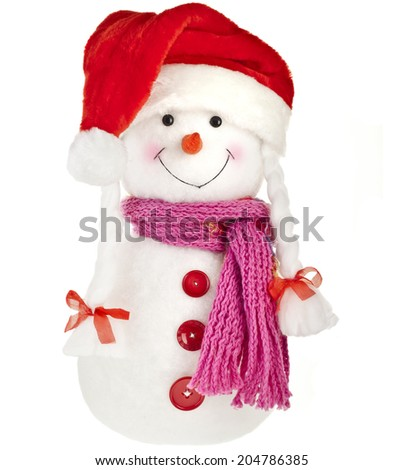 happy snowman in knitted scarf and claus cup,  isolated on white background - stock photo