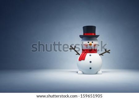 happy snowman in studio, 3d rendering - stock photo