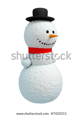 Happy snowman (Isolated on white background)
