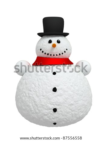 Happy snowman (Isolated on white background) - stock photo