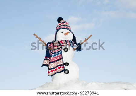 Happy snowman on sky background - stock photo