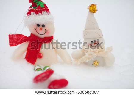 Happy snowman on snow background.