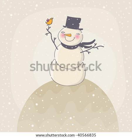 Happy Snowman under snowfall - stock photo