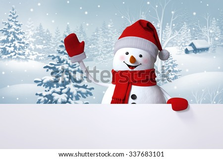 happy snowman waving hand, blank banner, winter landscape, snowy forest, Christmas background - stock photo