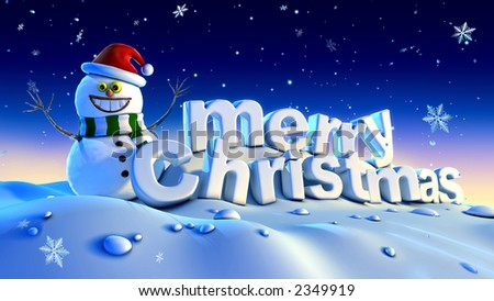 happy snowman wishes merry christmas - stock photo