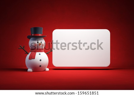 happy snowman with blank poster - stock photo