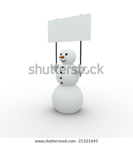 happy snowman with empty banner