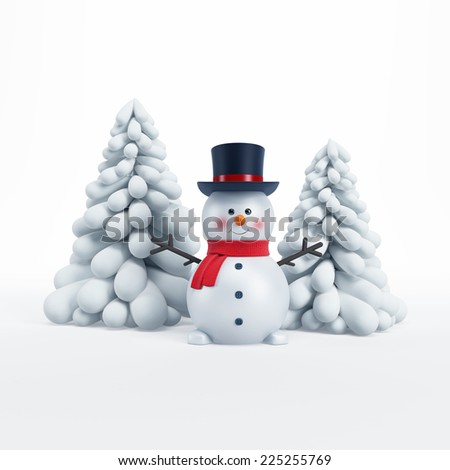 happy snowman with fir-tree, 3d rendering - stock photo