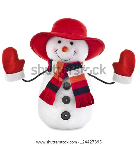 happy snowman with red hat isolated on white background - stock photo