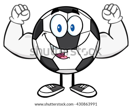 Happy Soccer Ball Cartoon Mascot Character Flexing. Raster Illustration Isolated On White Background - stock photo