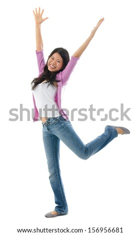 Happy Southeast Asian Chinese woman arms opened up. Full body standing isolated on white background - stock photo