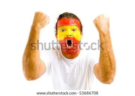 Happy Spanish fan celebrating a goal . - stock photo