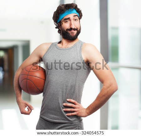 happy sport man with basket ball