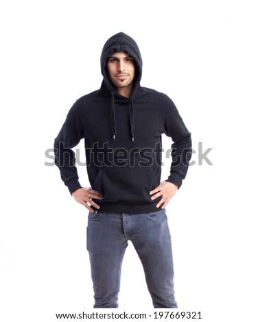 Happy sportman posing - stock photo