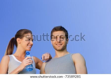 Happy sporty couple - stock photo