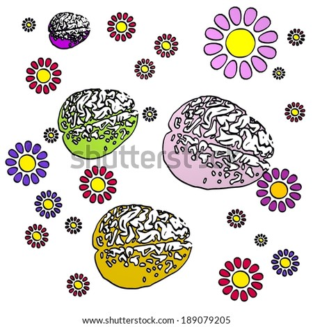 happy spring flower hand drawn sketch of four brain with fresh flowers on white background - stock photo