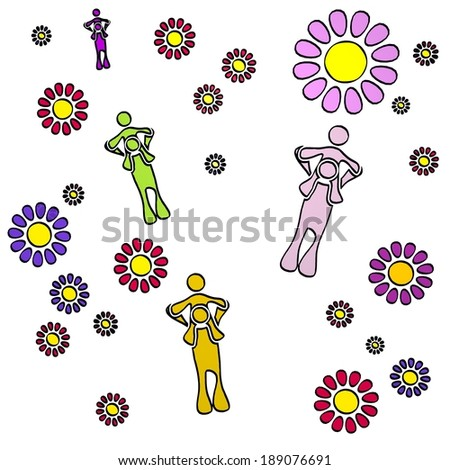 happy spring flower hand drawn sketch of four dad with fresh flowers on white background - stock photo