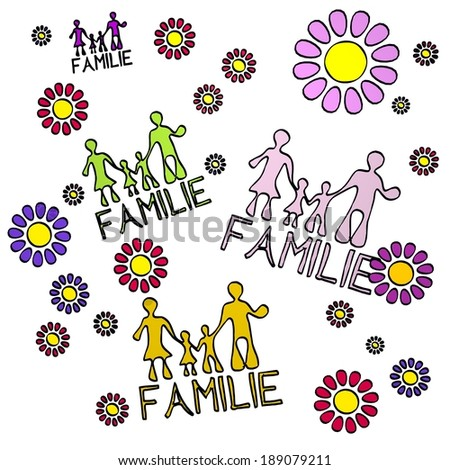 happy spring flower hand drawn sketch of four Familie symbols (german for family) with fresh flowers on white background - stock photo