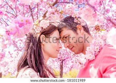 happy springtime summer scenic portrait - stock photo