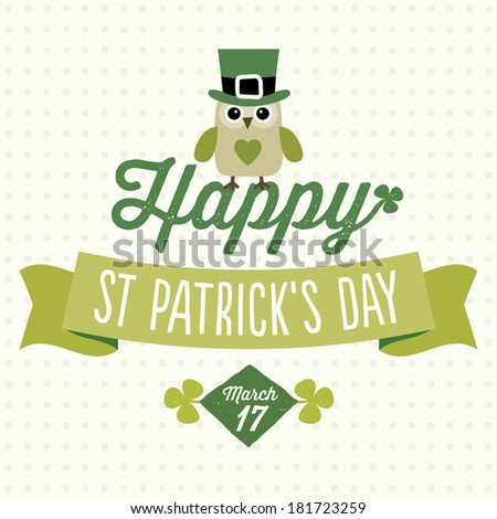 Happy St Patrick's Day card, menu or poster template with cute owl sitting on text and ribbon banner, raster version. - stock photo