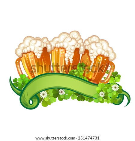 Happy St. Patrick's Day celebration with beer mugs - stock photo