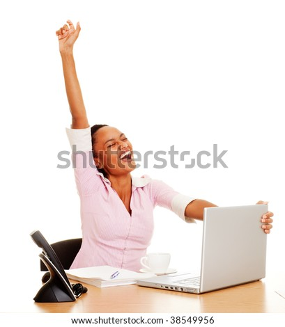 happy student finished her work - stock photo