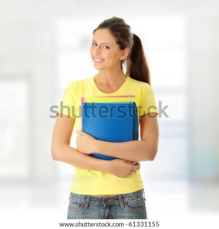 Happy student girl - stock photo
