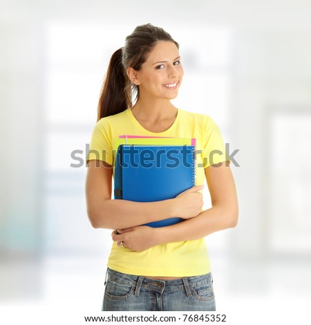 Happy student girl - stock photo