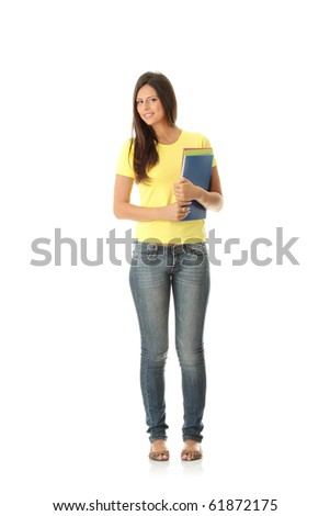 Happy student girl, isolated on white - stock photo