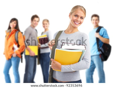 Happy student girl with book and a group of students. Isolated over white background. - stock photo