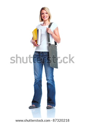 Happy student girl with book. Isolated over white background. - stock photo