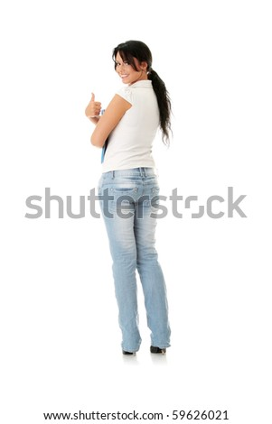 Happy student girl with thumbs up, isolated on white