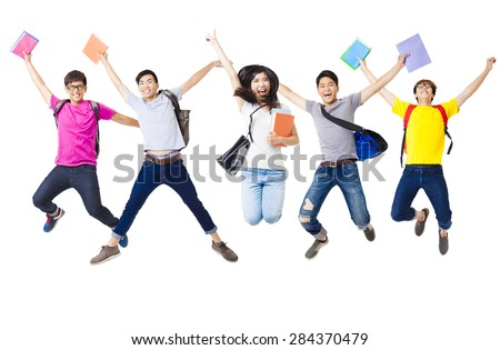 Happy  student group  jumping together - stock photo