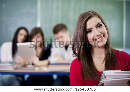Happy student in the classroom