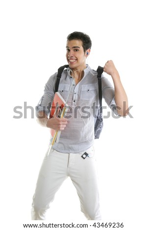 Happy student jump with college stuff in hand isolated on white - stock photo