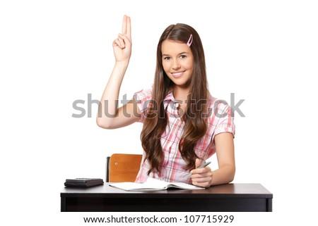 happy student posing in studio - stock photo