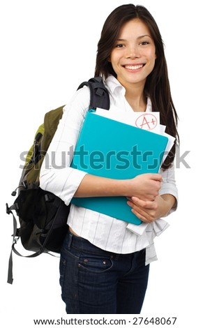 Happy student showing her perfect grade. Isolated on white. - stock photo