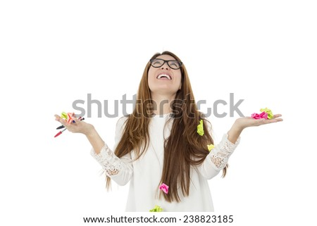Happy student woman looking how pos it notes fall from the sky against a white background - stock photo