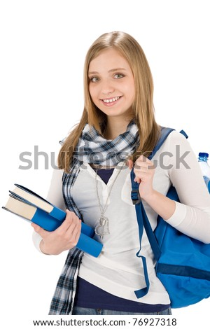 Happy student woman teenager with schoolbag hold books - stock photo