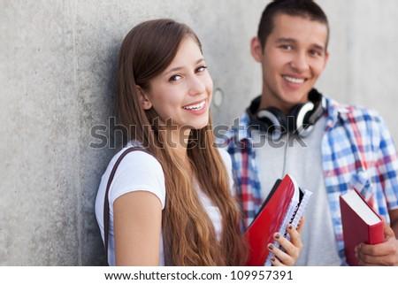 Happy students - stock photo