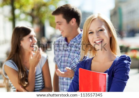 Happy students - stock photo