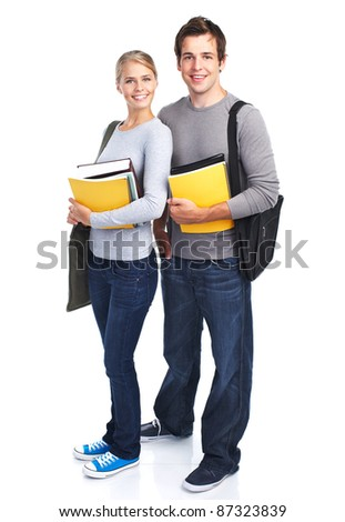 Happy students couple with books. Isolated over white background. - stock photo